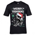 Premium Funny Retro Christmas Santa Hat Merry Fishmas Fishing Motif Mens Xmas T-Shirt Top